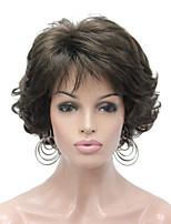 Недорогие -Парики из искусственных волос Кудрявый Стрижка каскад Искусственные волосы синтетический Темно-коричневый Парик Жен. Короткие Без шапочки-основы