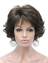 abordables -Pelucas sintéticas Rizado Corte a capas Pelo sintético sintético Marrón Oscuro Peluca Mujer Corta Sin Tapa
