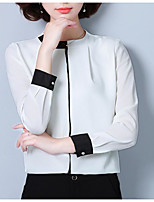 cheap -women's going out / work blouse - color block crew neck