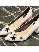 cheap -Women's Shoes PU(Polyurethane) Spring / Fall Comfort / Basic Pump Heels Chunky Heel White / Black
