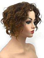 abordables -Pelucas sintéticas / Ombre Rizado Parte lateral Pelo sintético sintético Marrón Claro Peluca Mujer Corta Sin Tapa