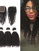 Недорогие -Бразильские волосы Kinky Curly Подарки / Человека ткет Волосы / Сувениры для чаепития 3 комплекта с закрытием 8-20 дюймовый Ткет человеческих волос 4x4 Закрытие Мягкость / Горячая распродажа / Мода