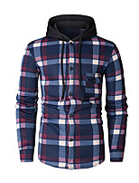 cheap -Men's Basic Hoodie - Geometric / Color Block / Houndstooth, Print