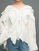 baratos -Mulheres Blusa - Para Noite Sólido Decote V