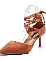 Недорогие -Жен. Обувь Полиуретан Лето С ремешком на лодыжке Обувь на каблуках На шпильке Заостренный носок Черный / Бежевый / Розовый / Для вечеринки / ужина