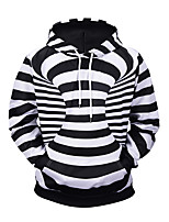 cheap -Men's Street chic / Exaggerated Hoodie - Striped / 3D, Print