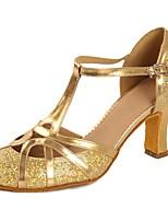 preiswerte -Damen Schuhe für modern Dance Lackleder Sandalen / Absätze Paillette / Schnalle Kubanischer Absatz Maßfertigung Tanzschuhe Gold