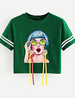 cheap -Women's Going out Cotton Loose T-shirt - Solid Colored / Portrait