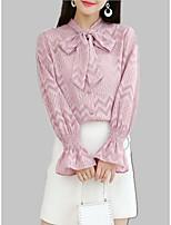 Недорогие -Жен. Шнуровка Рубашка Однотонный