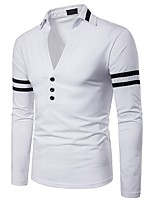 cheap -Men's Basic / Punk & Gothic Polo - Solid Colored / Color Block Black & White, Patchwork