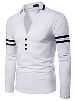 Недорогие -Муж. Пэчворк Polo Классический / Панк & Готика Однотонный / Контрастных цветов Черное и белое