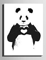 Недорогие -С картинкой Отпечатки на холсте - Животные / Любовь и сердца Modern