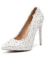 cheap -Women's Shoes PU(Polyurethane) Fall & Winter Basic Pump Wedding Shoes Stiletto Heel Pointed Toe Rhinestone / Satin Flower / Sparkling Glitter White / Party & Evening