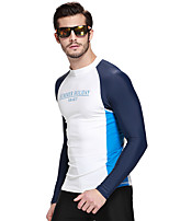 cheap -Men's Diving Rash Guard Keep Warm, Anti-Aging, Breathable Nylon / Chinlon / Elastane Long Sleeve Swimwear Beach Wear Top Patchwork Swimming / Diving / Water Sports