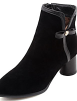 cheap -Women's Shoes Suede Fall & Winter Bootie Boots Chunky Heel Pointed Toe Booties / Ankle Boots Black / Yellow