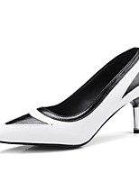 preiswerte -Damen Schuhe PU Sommer Pumps High Heels Stöckelabsatz Weiß / Schwarz