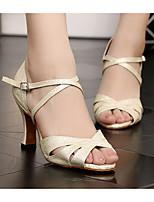 Недорогие -Жен. Обувь для латины Полиуретан На каблуках Толстая каблук Танцевальная обувь Бежевый