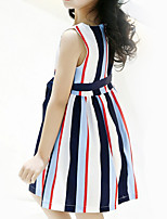 cheap -Kids Girls' Striped / Patchwork Sleeveless Dress