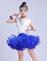 abordables -Baile Latino Vestidos Chica Rendimiento Licra / Organza Fruncido / Borla / Combinación Sin Mangas Vestido