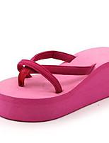 cheap -Women's Shoes PU(Polyurethane) Spring & Summer T-Strap Slippers & Flip-Flops Wedge Heel Open Toe Fuchsia / Blue / Pink