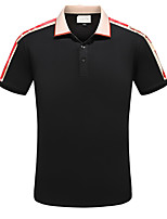 cheap -Men's Basic Polo - Color Block Patchwork