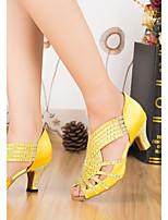 baratos -Mulheres Sapatos de Dança Latina Cetim Salto Salto Grosso Sapatos de Dança Amarelo / Azul