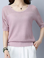 cheap -Women's Basic Petal Sleeves Pullover - Solid Colored