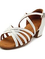 abordables -Chica Zapatos de Baile Latino Seda Tacones Alto Talón grueso Zapatos de baile Blanco