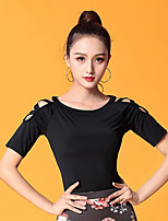 cheap -Ballroom Dance Tops Women's Performance Ice Silk Pattern / Print / Ruching Short Sleeve Top
