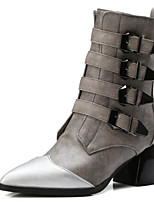 cheap -Women's Shoes PU(Polyurethane) Spring &  Fall Fashion Boots Boots Chunky Heel Pointed Toe Mid-Calf Boots Buckle Black / Gray