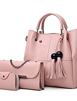 cheap -Women's Bags PU(Polyurethane) Bag Set 3 Pcs Purse Set Zipper / Tassel Blushing Pink / Gray / Brown