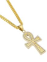 cheap -Men's Cubic Zirconia Stylish / Cuban Link Pendant Necklace / Chain Necklace - Titanium Steel Cross, Faith Stylish, European, Hip-Hop Gold 70 cm Necklace 1pc For Gift, Street