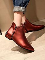 Недорогие -Жен. Обувь Наппа Leather Наступила зима Удобная обувь / Модная обувь Ботинки На низком каблуке Закрытый мыс Ботинки Серый / Винный