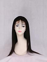Недорогие -Remy Лента спереди Парик Бирманские волосы Естественный прямой Парик С конским хвостом 130% Черный Жен. Очень длинный Wig Accessories