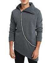 abordables -sudadera de algodón de manga larga para hombre - cuello de camisa de color sólido