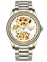 baratos -BOSCK Homens relógio mecânico Impermeável / Gravação Oca / Noctilucente Aço Inoxidável Banda Luxo / Esqueleto Prata