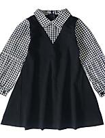 economico -Bambino Da ragazza In bianco e nero A scacchi / Collage Manica lunga Vestito