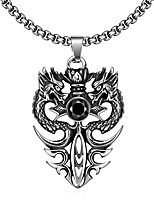 Недорогие -Муж. 3D Ожерелья с подвесками - нержавеющий Дракон Винтаж, Панк Черный 60 cm Ожерелье 1шт Назначение Повседневные, Для улицы