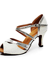 cheap -Women's Latin Shoes PU(Polyurethane) Heel Thick Heel Dance Shoes Silver / Leather / Practice
