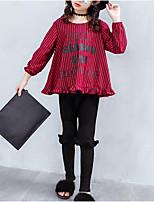 preiswerte -Kinder Mädchen Druck / Patchwork Langarm Kleidungs Set