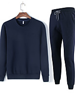 cheap -men's sports long sleeve slim activewear set - solid colored round neck