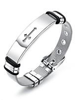 cheap -Men's Link / Chain Chain Bracelet / Bracelet Bangles / ID Bracelet - Stainless Steel Trendy, Casual / Sporty, Fashion Bracelet Silver For Gift / Daily