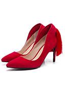 Недорогие -Жен. Обувь Овчина Весна / Осень Удобная обувь / Туфли лодочки Обувь на каблуках На шпильке Черный / Серый / Красный