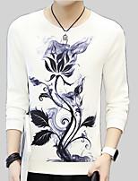 cheap -Men's Sweatshirt - Solid Colored / Floral, Print
