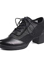 preiswerte -Damen Schuhe für modern Dance Nappaleder / Gitter Absätze Starke Ferse Maßfertigung Tanzschuhe Weiß / Schwarz / Rot