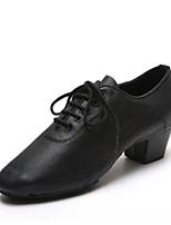 cheap -Men's Latin Shoes Cowhide Sneaker Thick Heel Dance Shoes Black