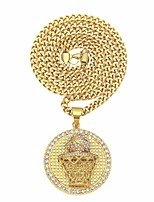 cheap -Men's AAA Cubic Zirconia Braided Pendant Necklace / Necklace - Stainless Steel, Gold Plated Stylish, Trendy, Hip-Hop Cool Gold 70 cm Necklace Jewelry 1pc For Street, Club