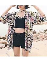 cheap -Women's Off Shoulder Cover-Up - Floral / Geometric Swim Trunk