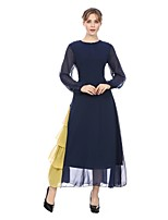 cheap -SHE IN SUN Women's Basic Abaya Dress Patchwork