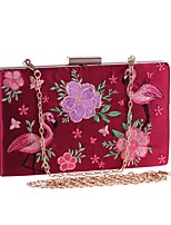 cheap -Women's Bags Polyester / Alloy Evening Bag Embroidery Embroidery White / Black / Red